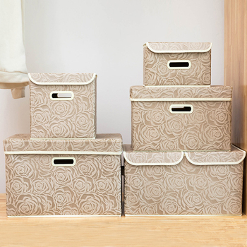 Folding Storage Bins With Lids Fabric Clothes Storage Box Cubes Kids Toy Organizer Containers Baskets With lid Handles