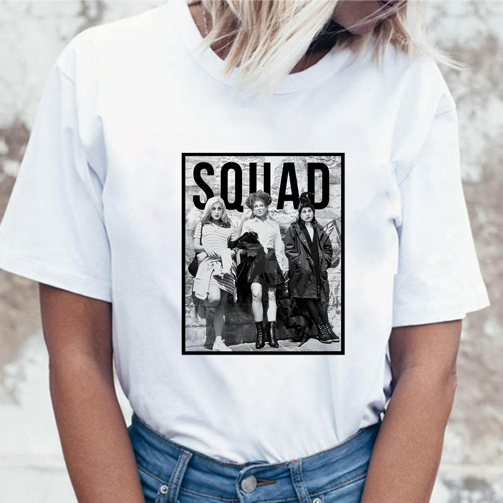 Harajuku Hocus Pocus Squad Print Summer T-shirt Women Funny Halloween T Shirt Partwear Ladies Girls Tshirt Casual O-neck Clothes