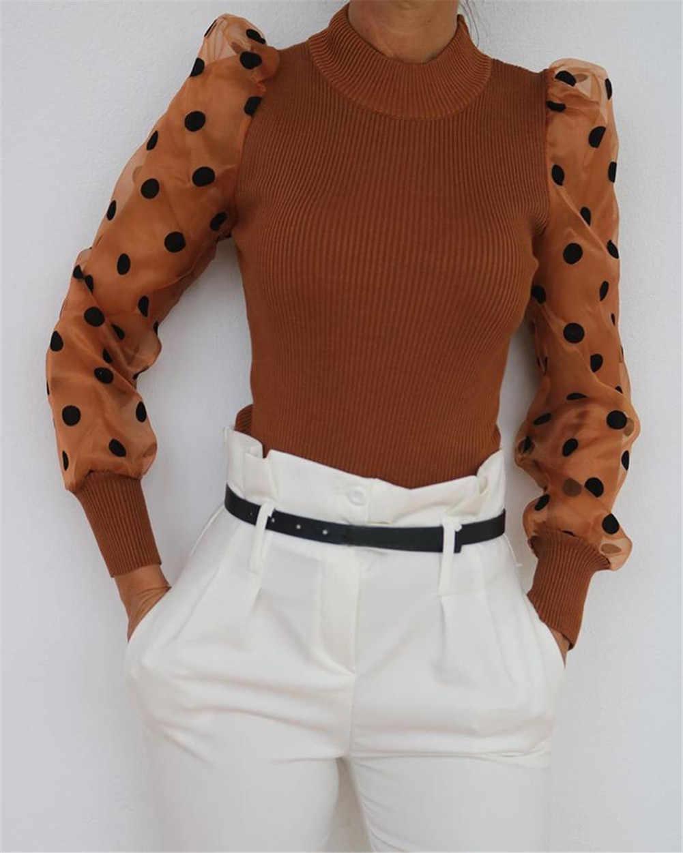 여성용 쉬어 메쉬 시스루 블라우스 2019 새로운 패션 우아한 슬림 폴카 도트 퍼프 긴 소매 탑 셔츠 터틀넥 가을 블라우스