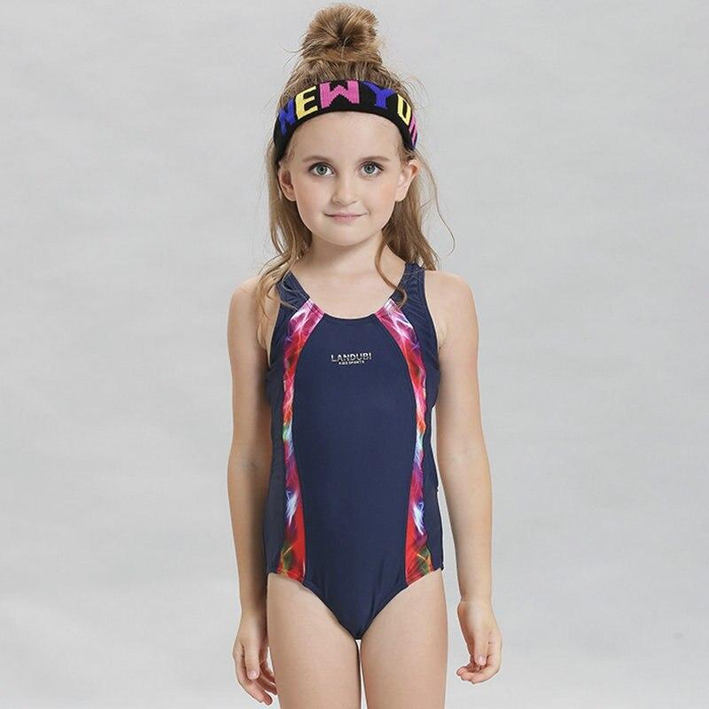 Blue Du Bi Girls One-piece Athletic Training Learning Bathing Suit Swimwear New Style Export Big Boy 15075