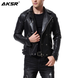 AKSR New Men's Leather Jacket Lapel Multi-Zipper Punk Style Casual Slim Coat Motorcycle Leather Faux Fur PU Jacket Hot M-5XL