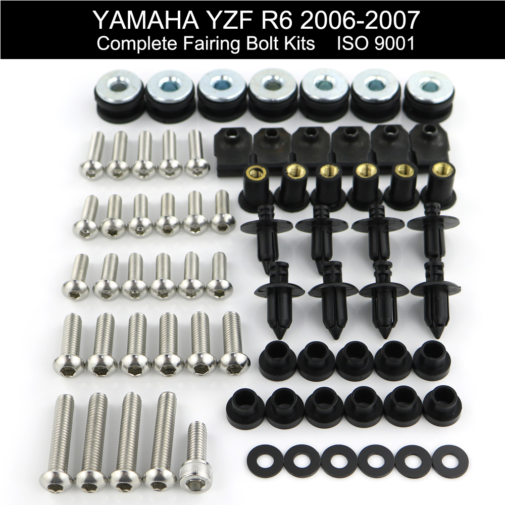 For Yamaha YZFR6 YZF R6 2006 2007 Complete Bolt Motorcycle Fairings Screws Fasteners