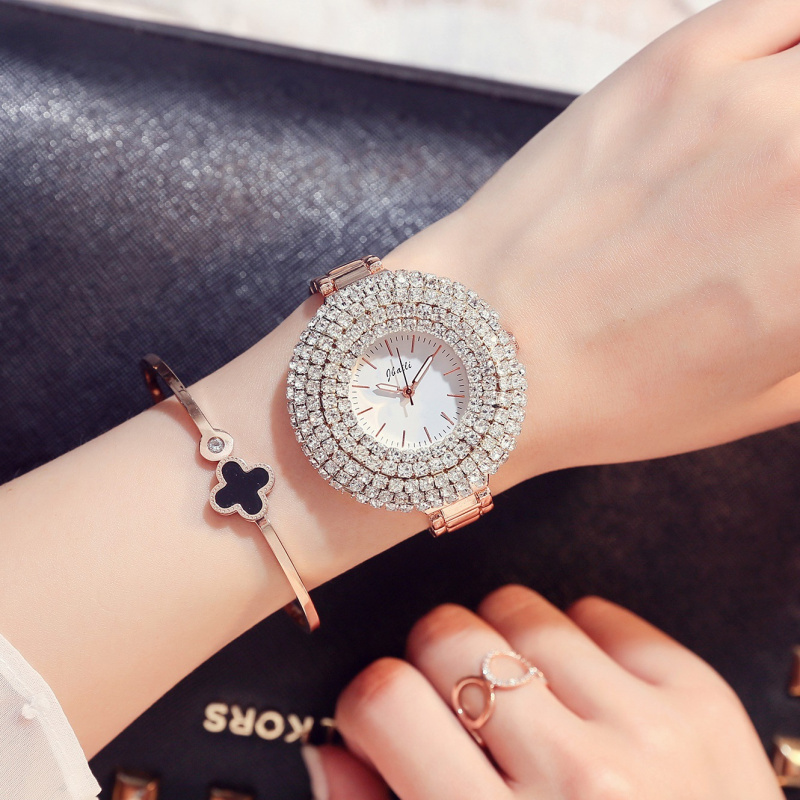 <font><b>Women</b></font> Watches Luxury Brand Fashion Big Rhinestone Dial Rose <font><b>Gold</b></font> Steel Strap <font><b>women</b></font>&#<font><b>39</b></font>;<font><b>s</b></font> watch Quartz Clock relogio feminino image