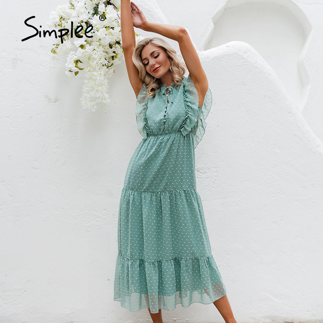 Simplee Summer Loose Casual Ruffled Women's Dress 2021 Holiday Beach Green Buttoned Long Dress Elegant Lady Sleeveless Vestidos 2