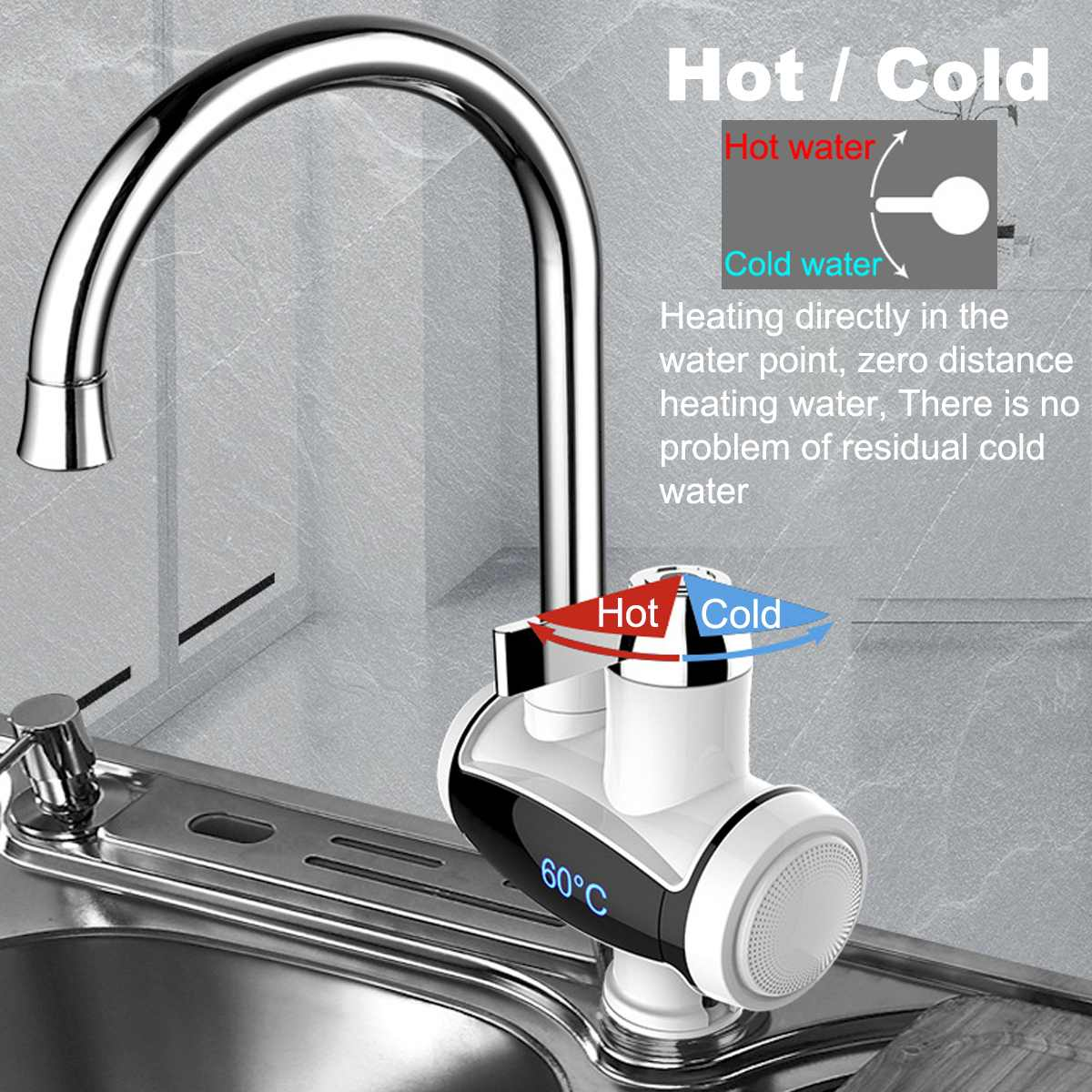 220V 3000W Instant Electric Faucet Tap Hot Water Heater Stainless Steel Lateral Under Inflow LED Display Bathroom Kitchen