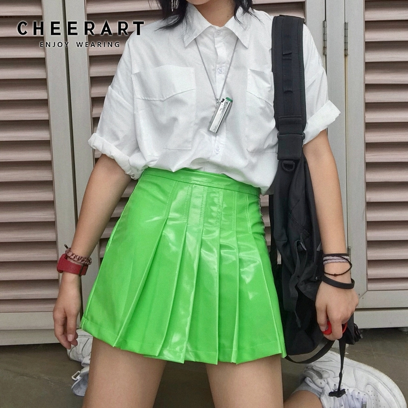 Cheerart Harajuku Pu Green Pleated Skirt Women High Waist Leather Glitter Mini Skirt Fall Short Skater Skirt Streetwear