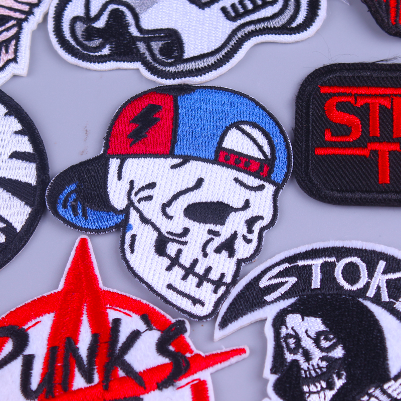 Letter Patch Hippie Iron on Patches On Clothes Punk Rock Stripe Embroidered Patches For Clothes Punk Skull Clothing DIY Applique