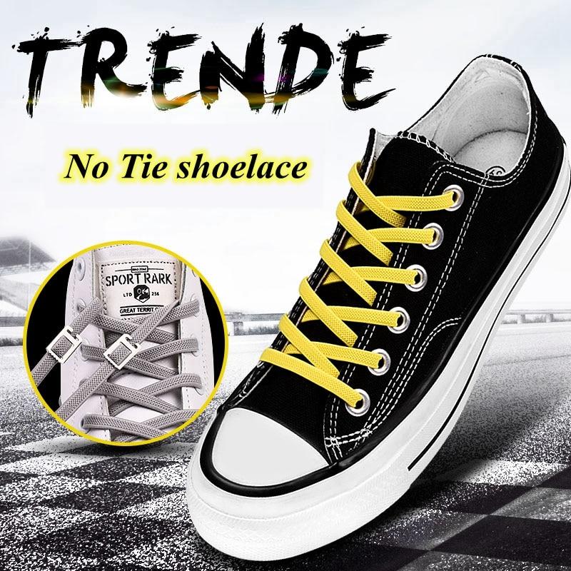1Pair Elastic Shoelaces No Tie Shoelaces Kids Adult Quick Lazy Laces Flats Rubber Sneakers Running Shoelace 24 Colors