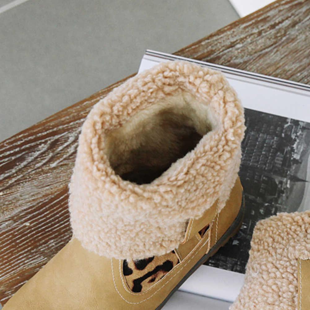BONJOMARISA yeni sıcak satış artı boyutu 34-48 leopar patik bayan kış sıcak kaymaz yarım çizmeler kadınlar 2020 düşük topuklu ayakkabılar kadın