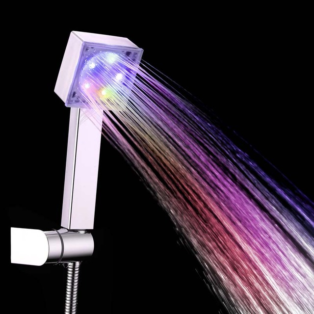 LED Square Rainfall Shower Head 7 Color Changing Shower Head No Battery Automatic Waterfall Shower Single Bathroom Showerhead 2