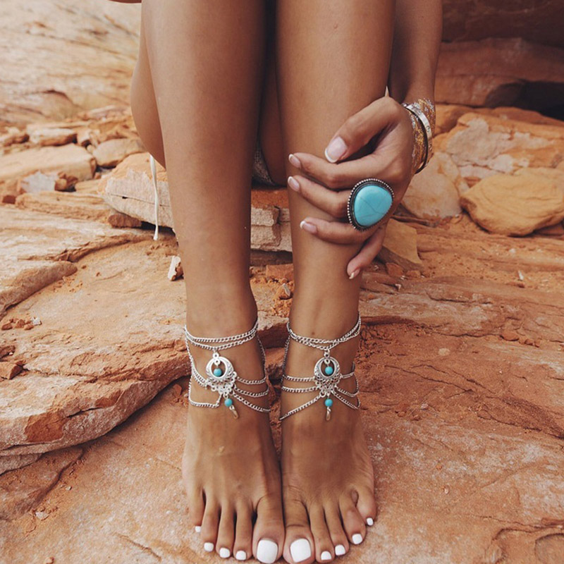 New Hot Barefoot Sandals Beach Summer Ankle Hollow Out Water Droplet Shape Multi Storey Foot Fashion Jewelry Boho Vintage
