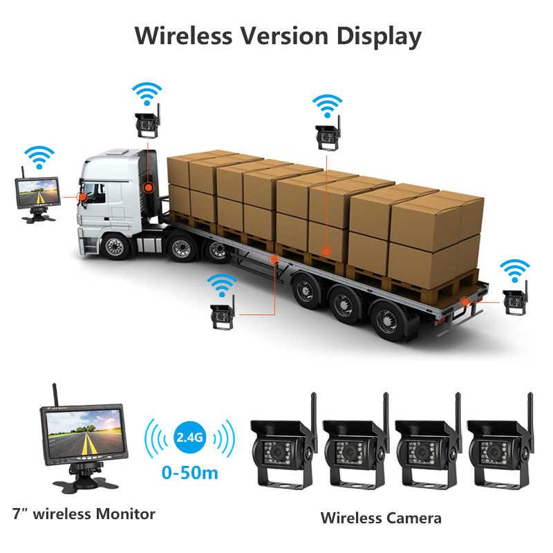 """Jansite 7 """"Wireless monitor Dell'automobile TFT LCD A Quattro Auto Posteriore del Monitor telecamere di Sistema di Parcheggio di Rearview per il Backup di Utilizzo Della Fotocamera per il camion"""