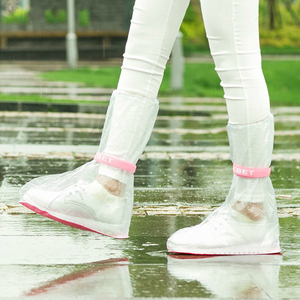 1 Pair PVC Shoes Cover Reusable Outdoor Hiking Rainboots Thicken Waterproof Overshoes Non-Slip Children Adult Shoe Cover