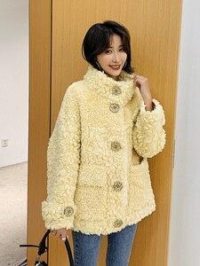 Image 5 - Ayunsu معطف الفرو الحقيقي الإناث الأغنام القص الخريف الشتاء سترة المرأة 100% معطف الصوف الكورية الوردي جاكيتات Manteau فام SGT 007