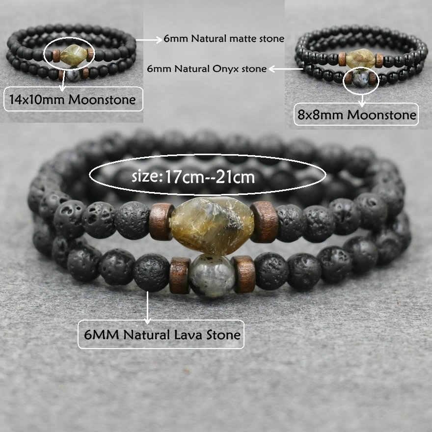 2 sztuk/zestaw bransoletki męskie naturalny kamień lawowy bransoletka z koralików Moonstone labradoryt bransoletka dla mężczyzn pary biżuteria mężczyzna Pulseira