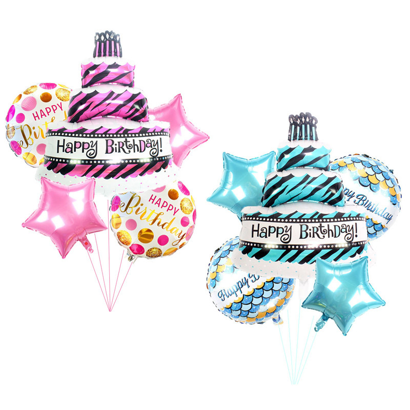 5pcs Birthday Cake Foil Balloons Set   Baby  Boy Girl Birthday Party Baby Shower Decorations Cartoon Hat