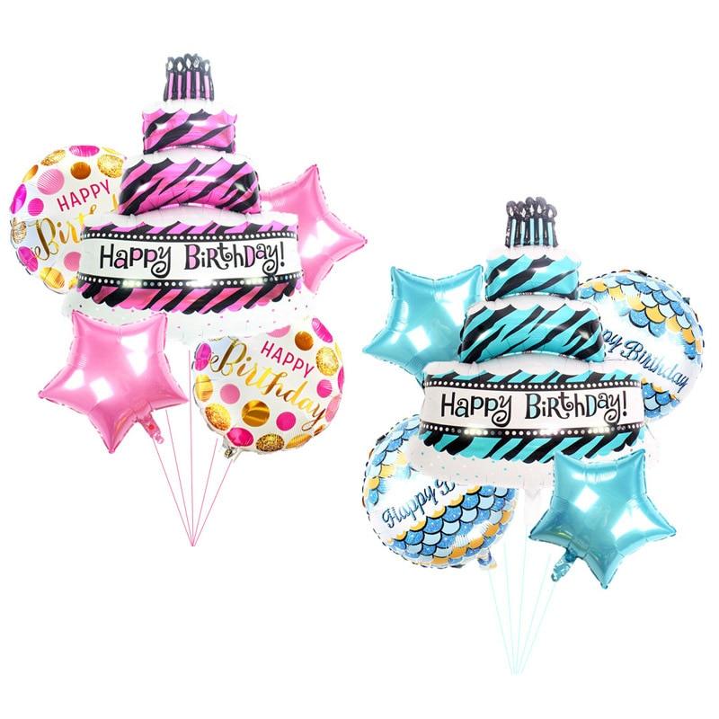 5pcs Birthday Cake Foil Balloons Set   Baby  Boy Girl Birthday Party Baby Shower Decorations Cartoon Hat