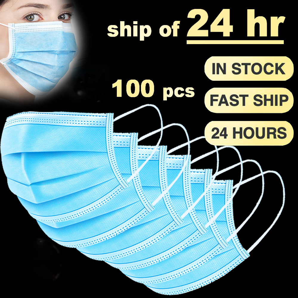 Fast Shipping 100 Pcs Face Masks 3 Ply Anti Pollution Dust Disposable Mouth Mask Protective Respirator FPP2 Maska PM2.5 FPP3