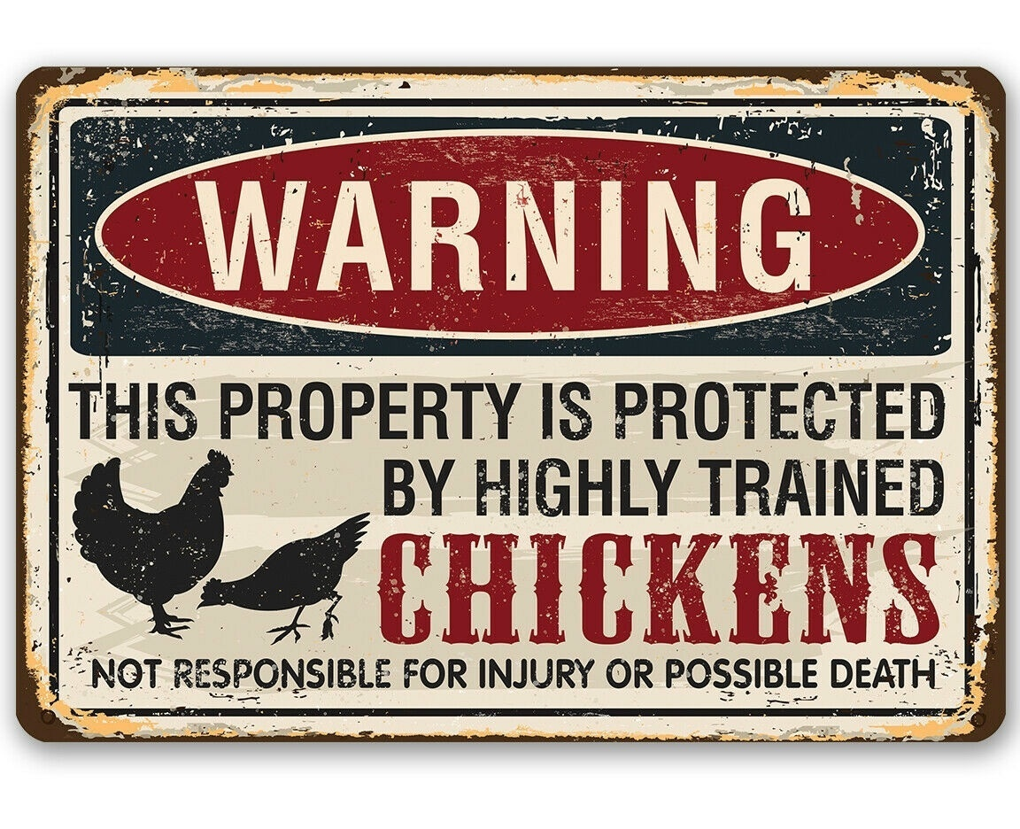 Aviso propriedade protegida por galinhas sinal de metal-faz uma decoração fazenda engraçada