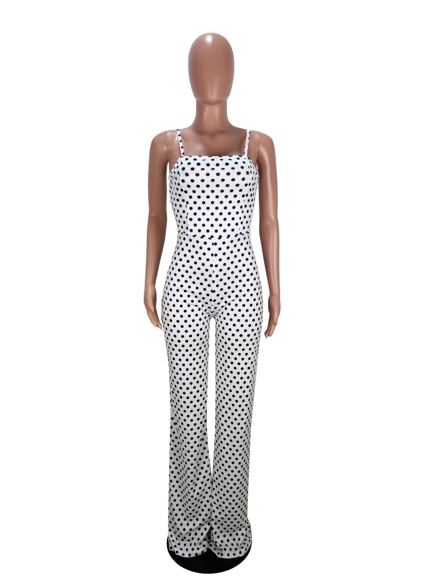 Moda polka dot cinta de espaguete sem costas rendas até macacão feminino sem alças playsuits sem alças perna larga pantsouterwear