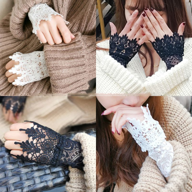 Decorated Cuff Women Sweater Ruffles Fake Sleeves Hollow Crochet Lace Arm Warmer U90E