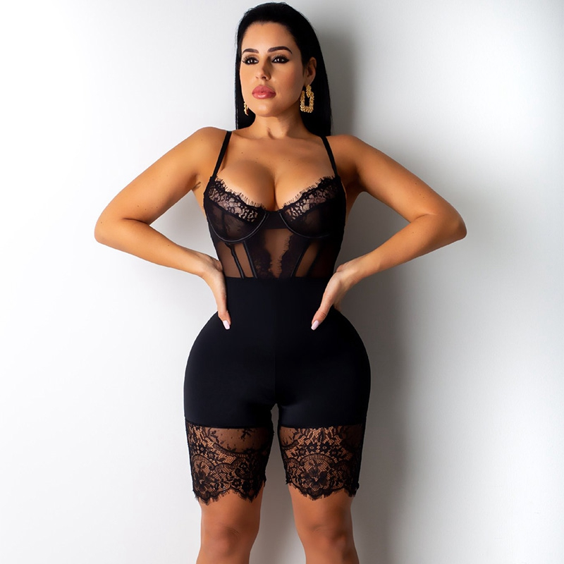 2019 Sexy Lace Bodysuit Women Backless Romper Black Bodycon Jumpsuit Overalls Elegant Skinny Party Club Bodysuit Short Playsuit