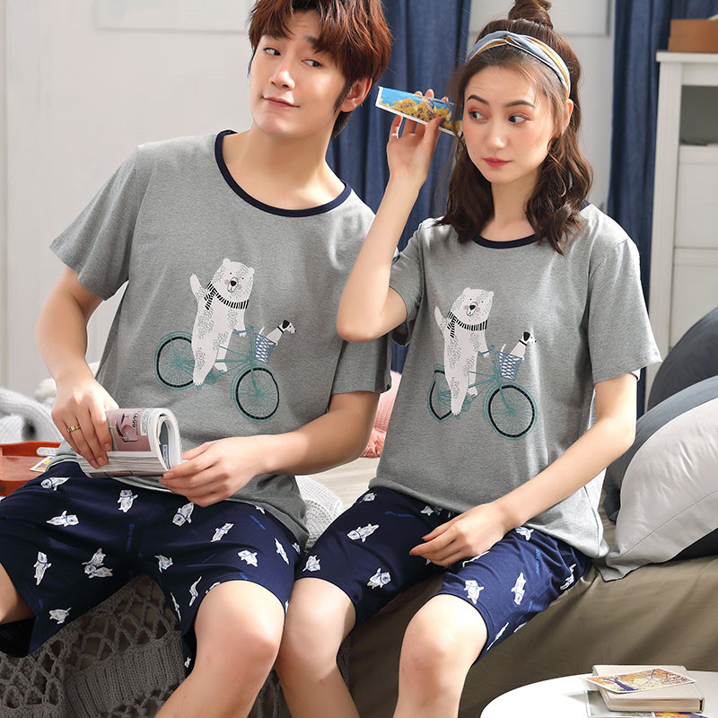 Summer Net Red Couple Pajamas Men's Cotton Short-sleeved Casual Models Cartoon Lazy Chic Wind Male Home Service Summer