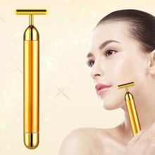 24k Gold Vibration Facial Slimming Face Beauty Bar Pulse Firming Facial Roller Massager Lift Skin Tightening Wrinkle Stick