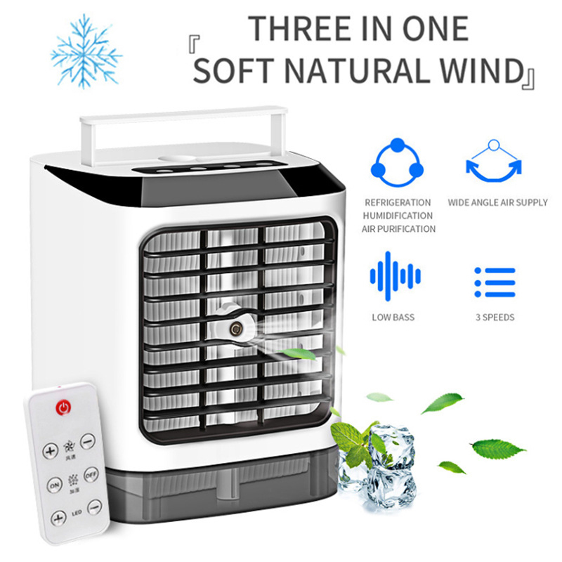 Portable Mini Three-in-one Air Cooler Humidifier Air Conditioning Fan Household Products With Remote Control Button Battery