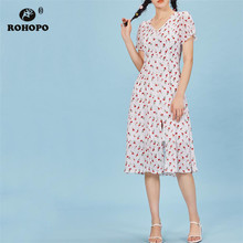 ROHOPO Double Layers White Yellow Midi Chiffon Dress Buttons Fly Puff SleeveHigh Waist Rose Floral Sit Ruffle Cute Vestido #8943