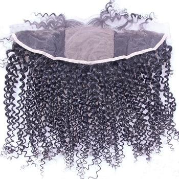 Ifrogue 13*4 Base de seda de encaje Frontal cabello humano brasileño Remy rizado de seda superior de encaje de cierre Frontal parte libre negro Natural