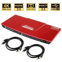 Hdmi 4 2kウルトラhd 4 × 1 hdmi kvmスイッチ3840x2160 @ 60hz 4:4:4と2本のkvmケーブルサポートusb 2.0デバイスを制御