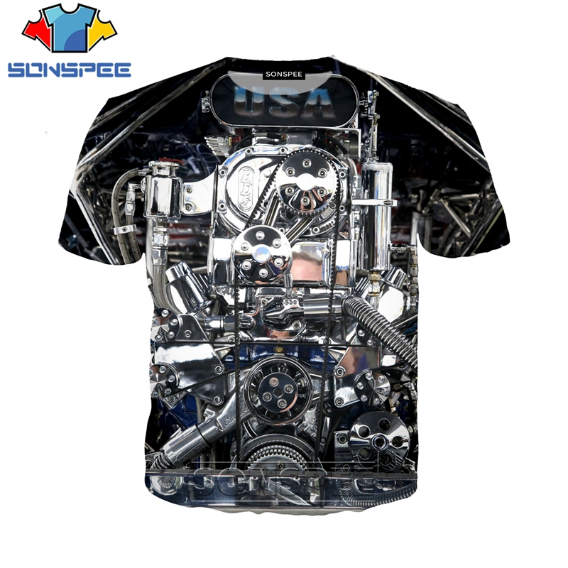 3D Print Men Women T-shirts 2019 New SONSPEE T Shirt Casual Streetwear Cool Short Sleeve Car Power Engine Leisure Tees Tops