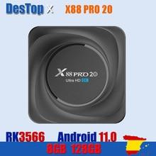 2021 X88 PRO 20 TV Box أندرويد 11 8GB RAM 128GB ROM Rockchip RK3566 8K أندرويد 11.0 مشغل الوسائط جوجل يوتيوب 1000M 4GB 32GB