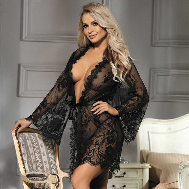 Sexy Ladies Vintage Nightgowns Women Floral Lace Large Size Lingerie Pyjamas Long Sleeve Bathrobe Solid Sleepwear Gown RS80528