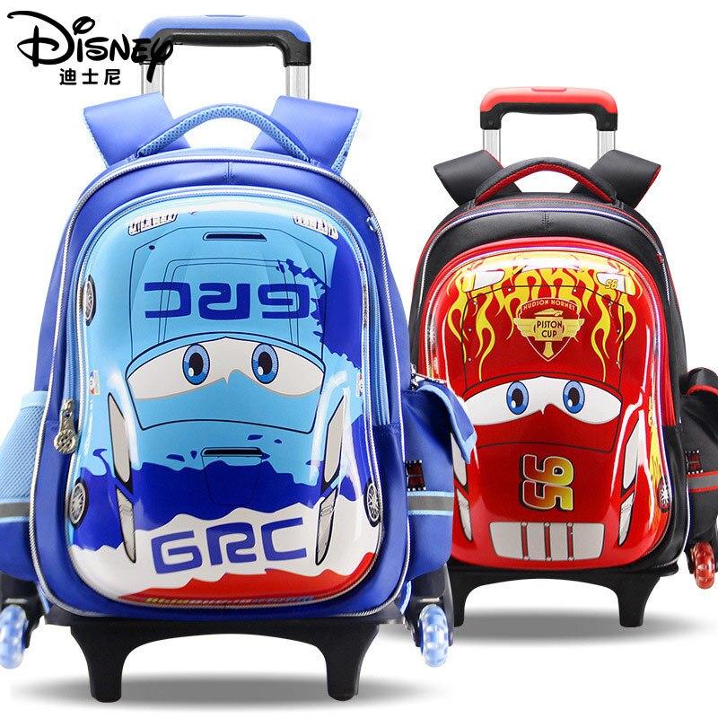 Authentic Disney Trolley Schoolbag Boys Boys Three Wheels Can Climb Stairs Primary School Children 6-12 Years Old School Bags