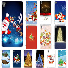 Merry Christmas Happy New Year Soft TPU Transparent Mobile Phone Case for Sony Xperia Z Z1