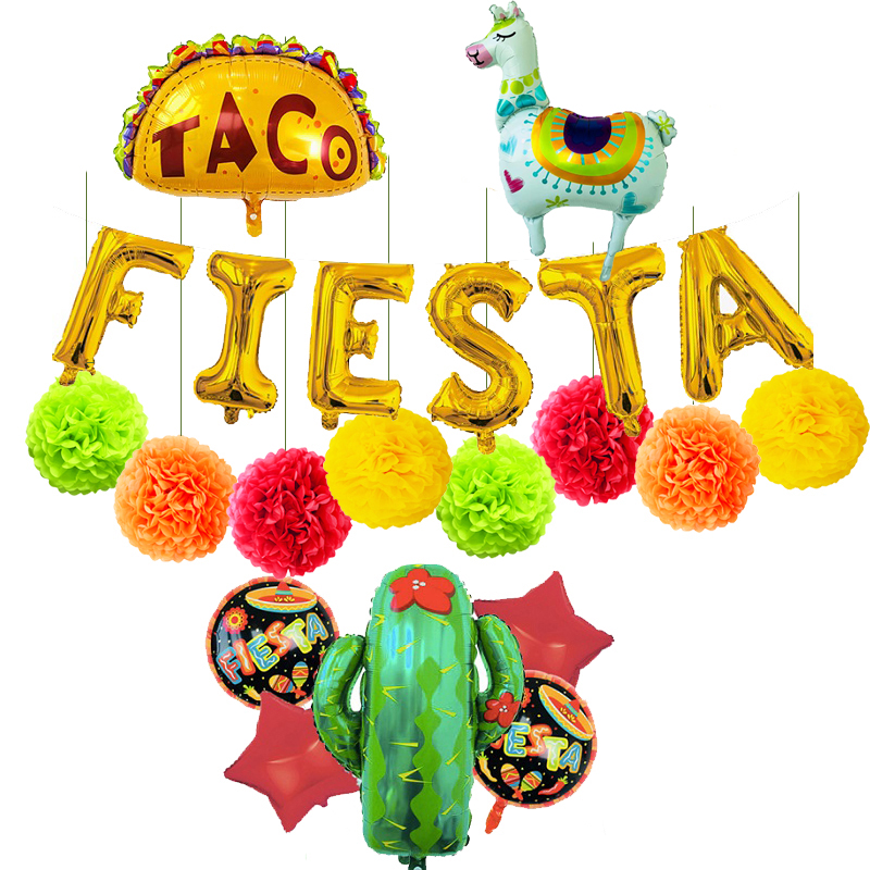 Mexican Party Decorations Birthday Party Supplies Decor Festa Mexicana Helium Foil Cactus Taco Llama Balloons Pom Poms