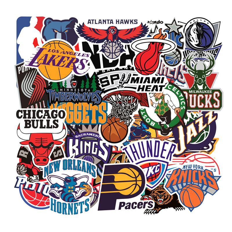 32 PCS Basketball Team logo Style Car Stickers and Decals for Laptop Motorcycle Skateboard Graffiti Sticker