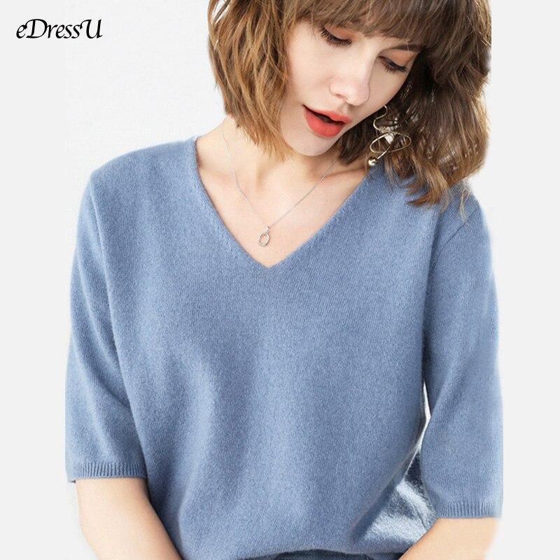 2020 вязаные топы Женская свободная футболка пуловер сезон весна
