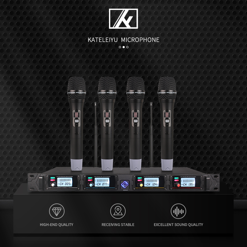 Wireless Microphone System 8000GT Professional UHF Channel Dynamic 4 Karaoke Stage microphone