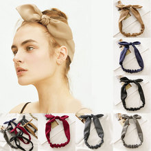 Solid Color Bunny Ears Headband Women Knotted Bow Hairband Female Stretch Rabbit Ear Hair Band Headdress Accessories