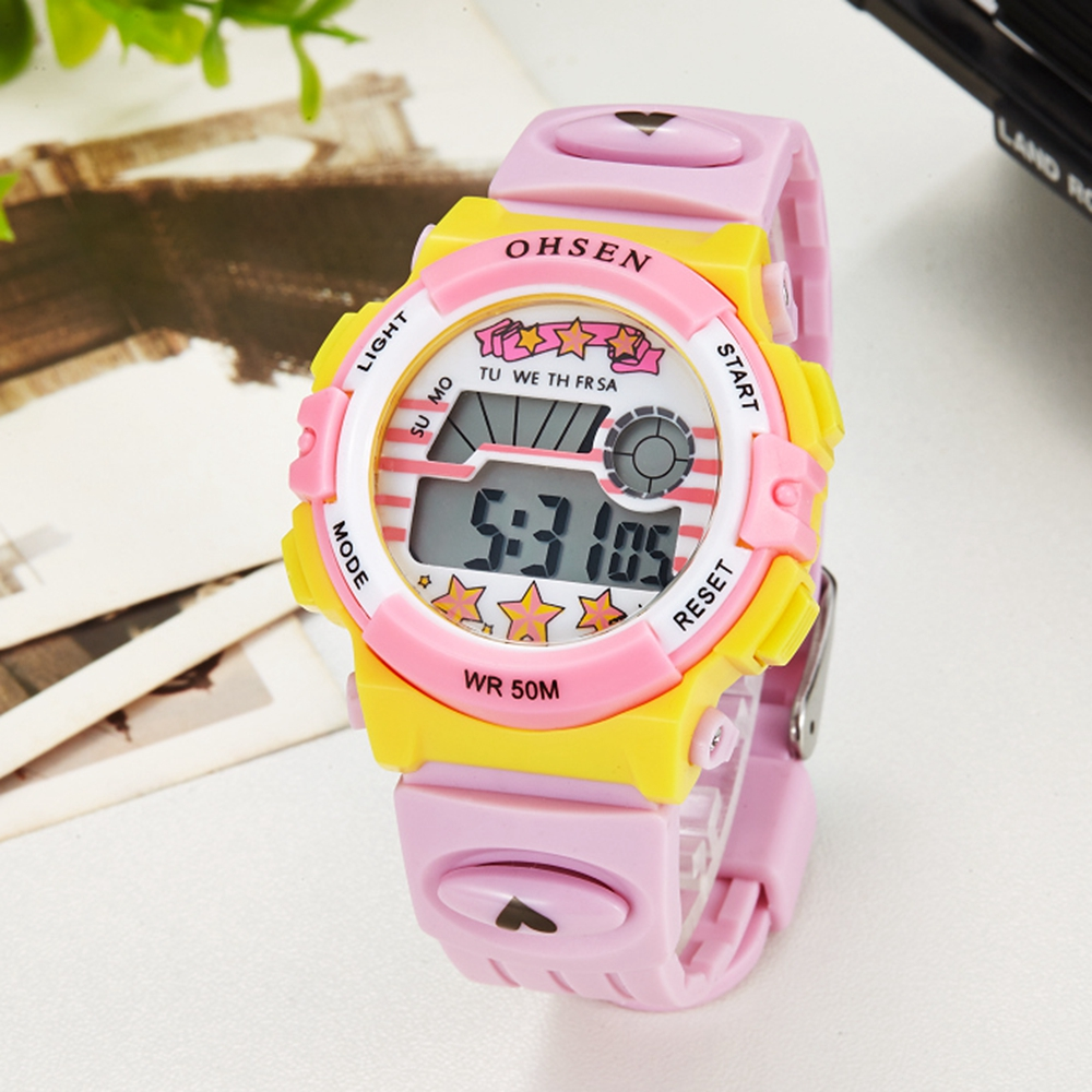 Digital Waterproof Kids Girl Watch Fashion Cute Pink Silicone Electronic Children Wristwatch Boys Led Sport Cartoon Clock Gift