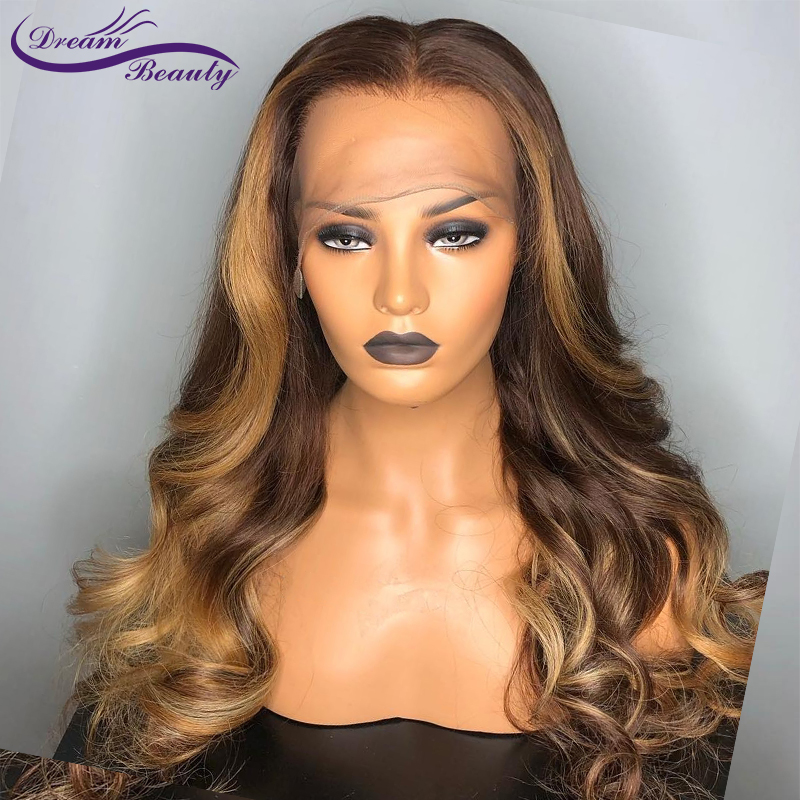 Human-Hair Lace-Wig Beauty Ombre-Color Brazilian Hair-Dream Wavy Glueless Baby With Deep-Part-Line
