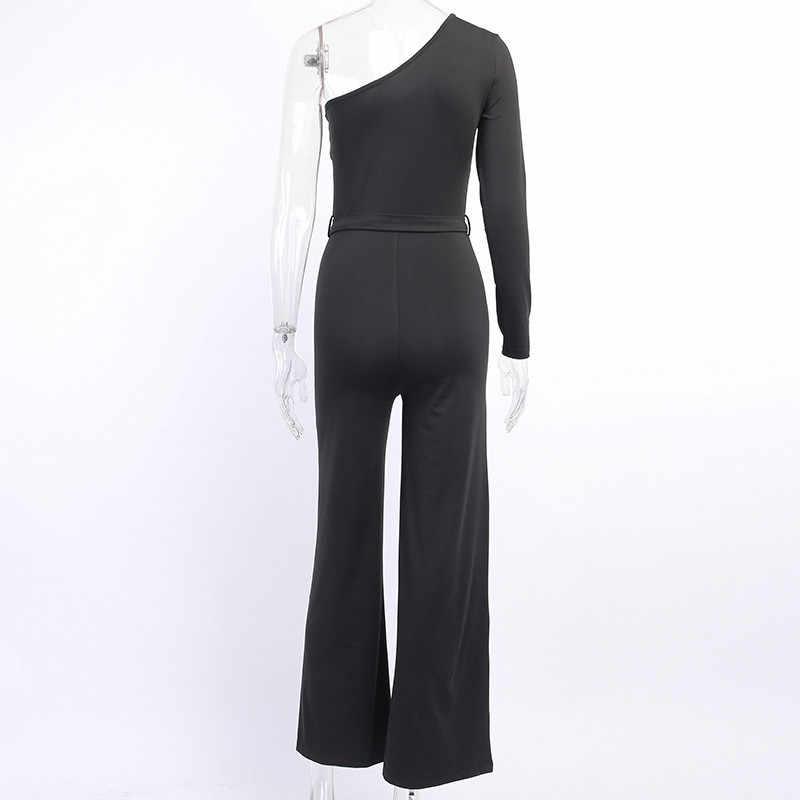 Hugcitar 2019 אחת כתף ארוך שרוול סקסי סרבל סתיו חורף נשים חגורת טהור streetwear תלבושות גוף