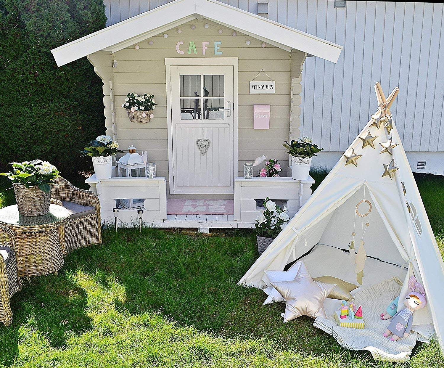 Play-Tent Canvas Sleeping Dome 130cm Teepee House Wigwam Room Children's Tent Game-House Tipi Triangle KidsTent Teepee