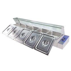 Marka handlowa Bain Marie licznik bufet elektryczny podgrzewacz do potraw ze stali nierdzewnej zupa ogrzewanie basen 5 garnki i pokrywy w Roboty kuchenne od AGD na