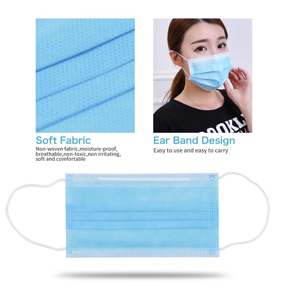 100 шт./лот, одноразовая маска, анти-загрязнения, маски, ткань, нетканые материалы, пылезащитный уход за здоровьем, маска для рта, синяя, для взр...