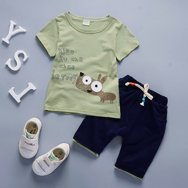 Baby Boys T-shirt Tops With Pocket+Short Pants 2PC Summer Clothes Set Tracksuits