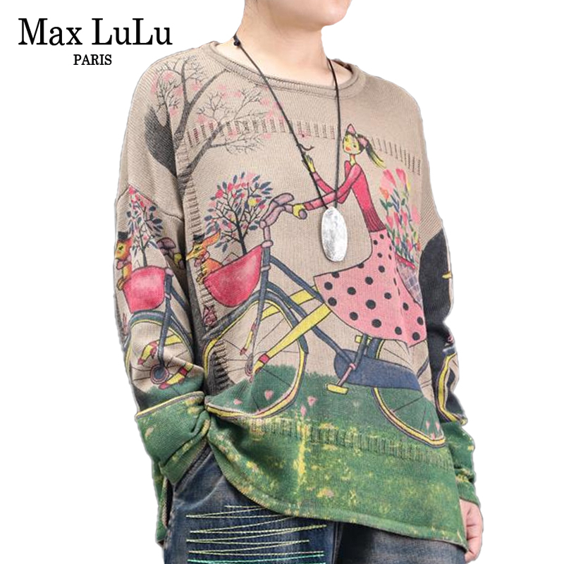 Max Lulu 2019 Fashion Korean Ladies Printed Jumpers Women Cartoon Sweaters Knitted Knitwear Oversized Pullovers Winter Clothes